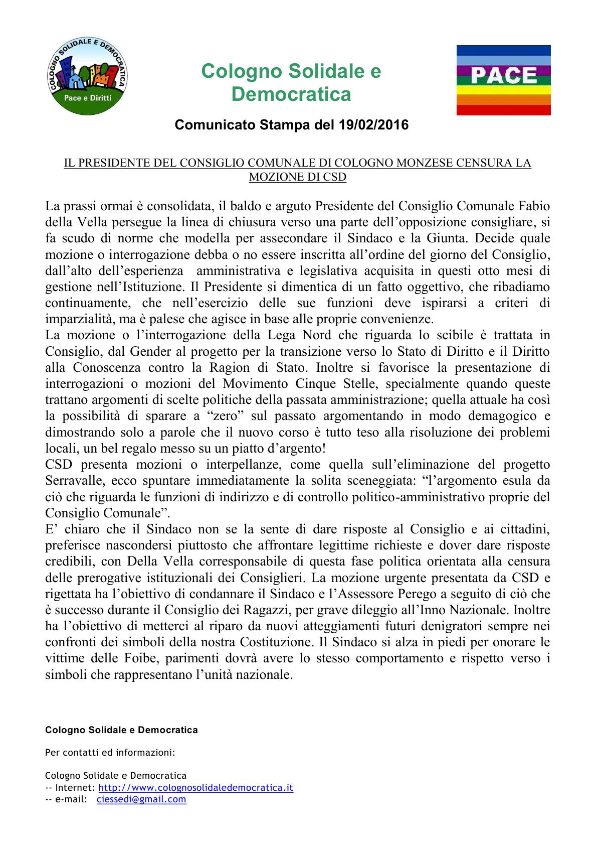 comunicato CSD censura sulle mozioni